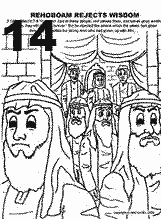 Bible coloring depicting Rehoboam Rejects Wisdom