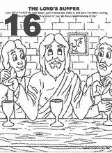 Bible coloring depicting Jesus having the last supper with his disciples.