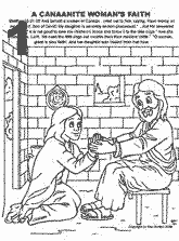 Bible coloring depicting Canaanite or Syrophoenician Woman's faith for daughter being healed by Jesus.