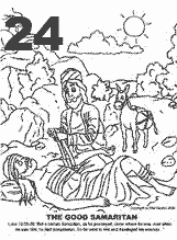 Bible coloring depicting the good Samaritan bandaging the wounded traveler.