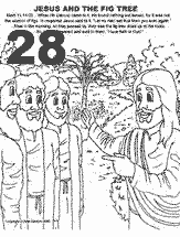 Bible coloring depicting Jesus cursing the fig tree and talking to his disciples.