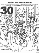Bible coloring depicting Joseph revealing himself to his brothers.