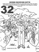 Bible coloring depicting Moses receiving gifts for the Tabernacle to be built.