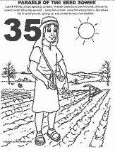 Bible coloring depicting parable of the seed sower.