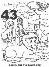 Bible coloring depicting Daniel being kept safe in the lions den.