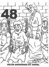 Bible coloring depicting Peter between two guards being awakened by an angel.