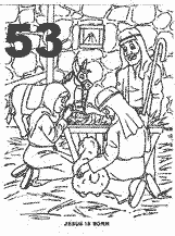 Bible coloring depicting Jesus born in a manger.