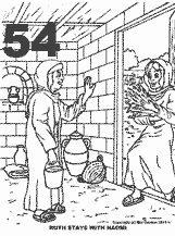 Bible coloring depicting Ruth bringing back grain for Naomi and her.