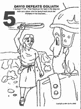 Bible coloring depicting David defeating Goliath with a stone and a sling.