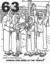 Bible coloring depicting Simeon and Anna in the temple with baby Jesus.