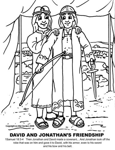 creative streams bible coloring pages for kids On david and jonathan friendship craft