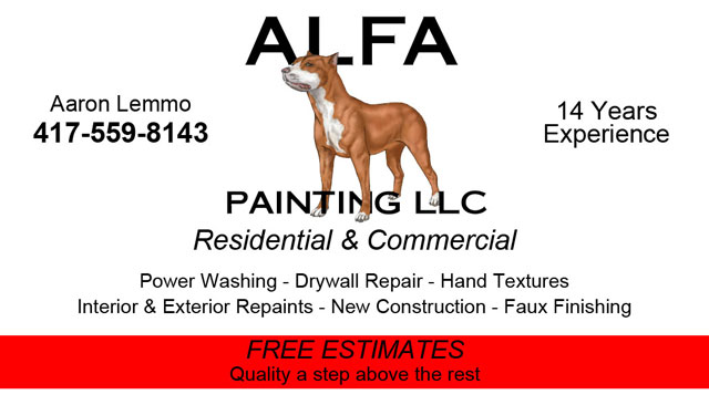 ALFA Painting business card