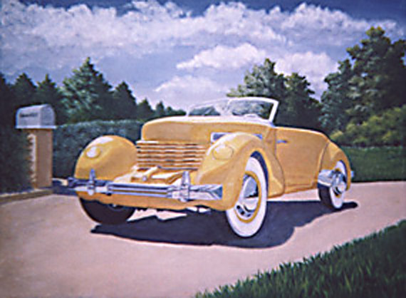 A painting depicting a 1937 Cord Phaeton sitting on a driveway.