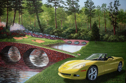 A painting depicting a yellow Corvette sitting by the 12th Hole of Augusta Golf Course.