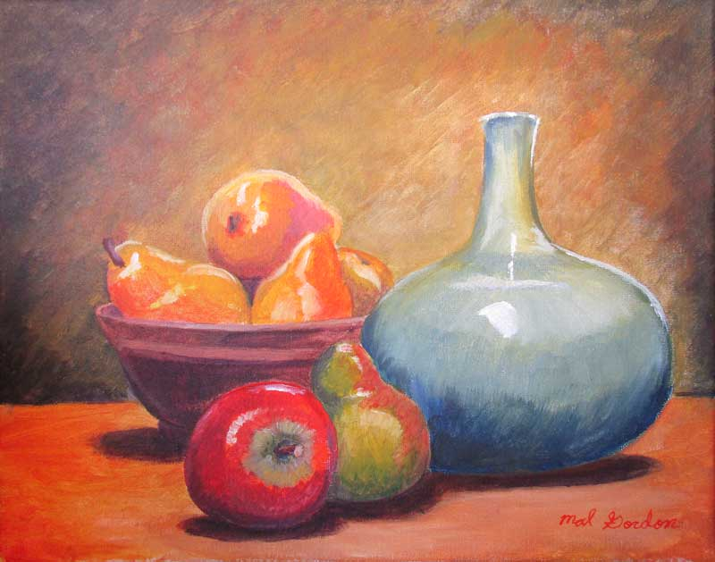 A painting depicting a still life of a traditional fruit and ceramic subject matter painted in a impressionistic manner.