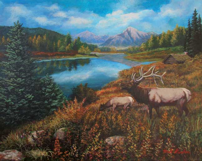 A painting depicting two elk by a lake with fall foliage and mountain in background.