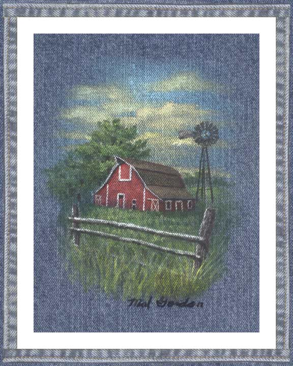 Barn On On denim wall decor with partial fence in a country motif. A beautiful printed denim wall art piece surrounded in a denim border.
