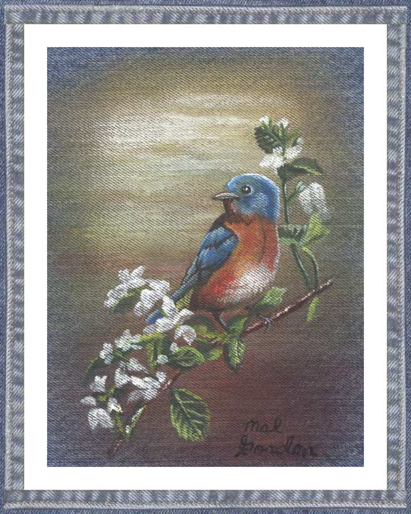 Bluebird On denim wall decor with blossoming blackberry cane flowers in a country motif. A beautiful printed denim wall art piece surrounded in a denim border.