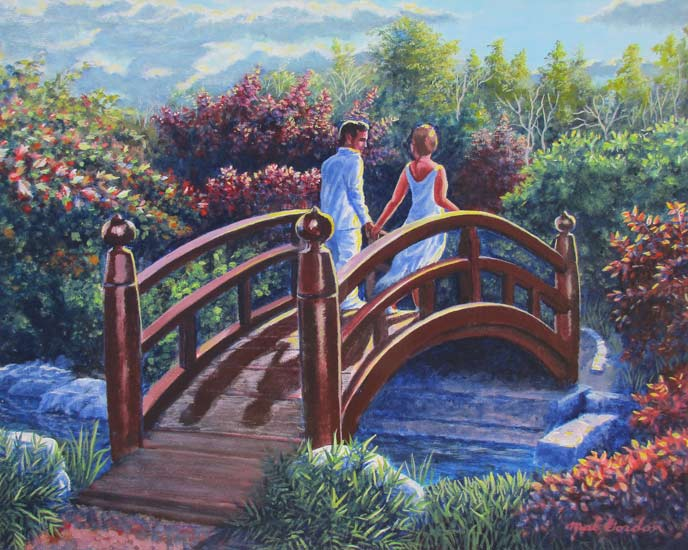 A painting depicting lovers on a bridge against dramatic light and a background and foreground of trees and flowers.