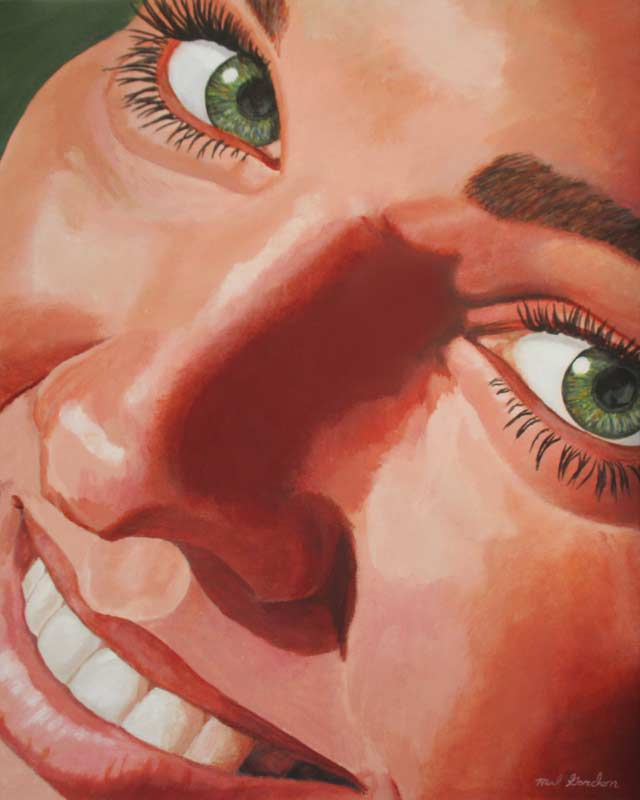 A painting depicting a young woman's face up close.