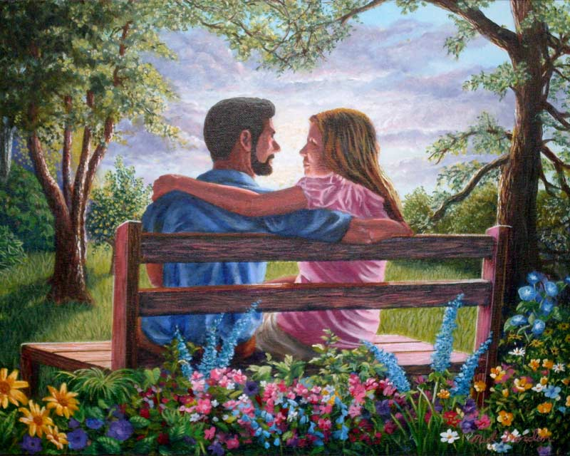 A painting depicting a  young couple sitting on a bench.