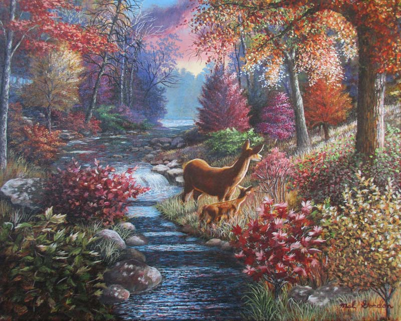 A painting depicting a doe and fawn in the fall out in the woods looking toward the morning light.