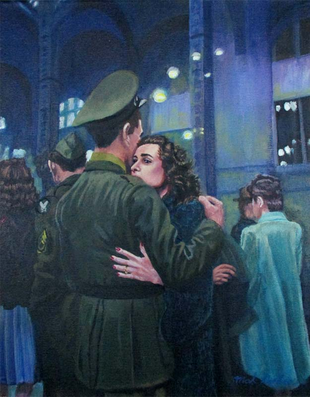 A painting depicting a couple in World War 2 saying goodbye in Grand central Station.