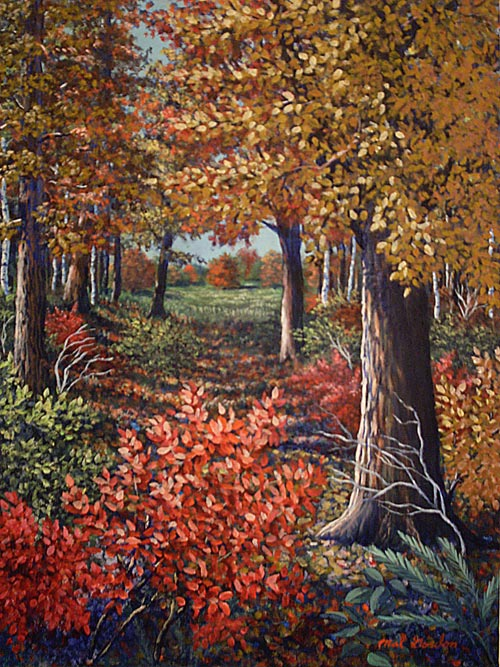 A painting depicting a stylized fall scene with a walking path through the trees.