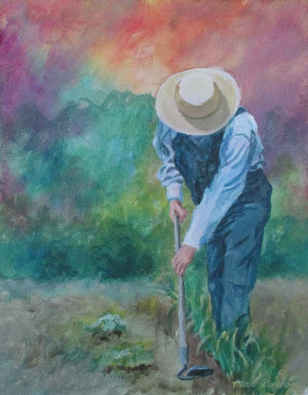 A painting depicting a farmer in overalls hoeing plants in a garden.