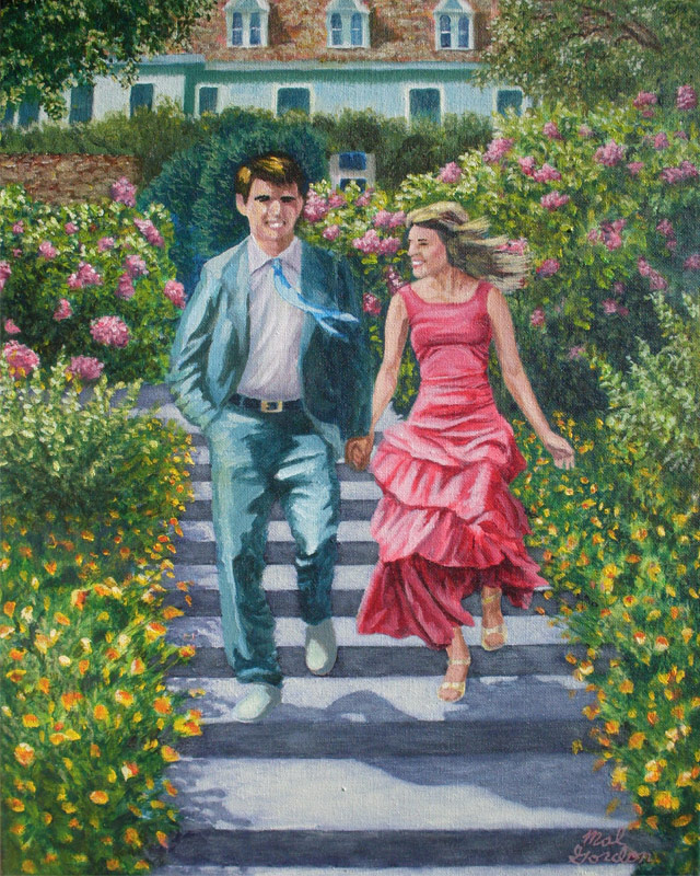 A painting depicting a young couple going down steps to a Garden Party.