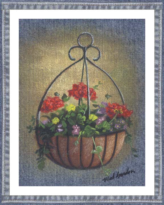 Hanging Flowers denim wall decor in a country motif. A beautiful printed denim wall art piece surrounded in a denim border.