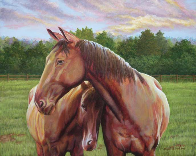A painting depicting a horse and colt close to one another in a field.