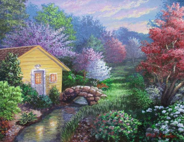 A painting depicting a house and backyard garden at sunset with a beautiful colorful Spring foliage background.