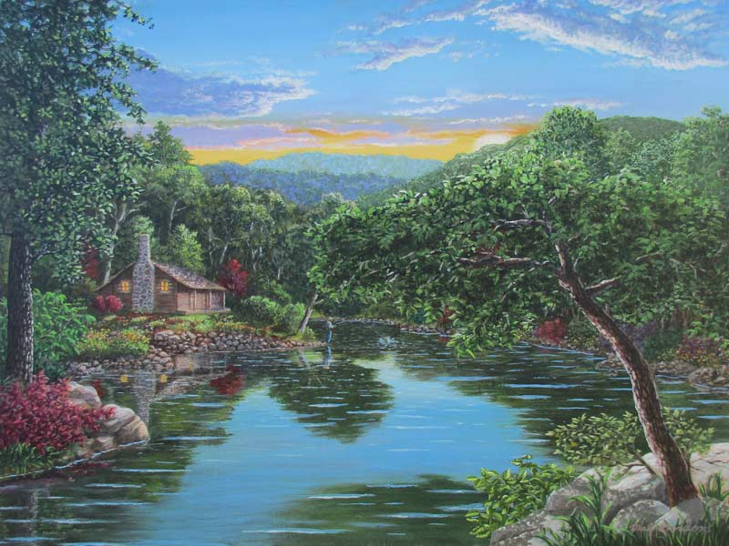 A painting depicting a Ozark Mountain stream with a fisherman and cabin in the background using dramatic lighting.