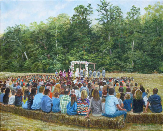 A painting of a couple being married standing in a cleared field in the Branson, Missouri area.