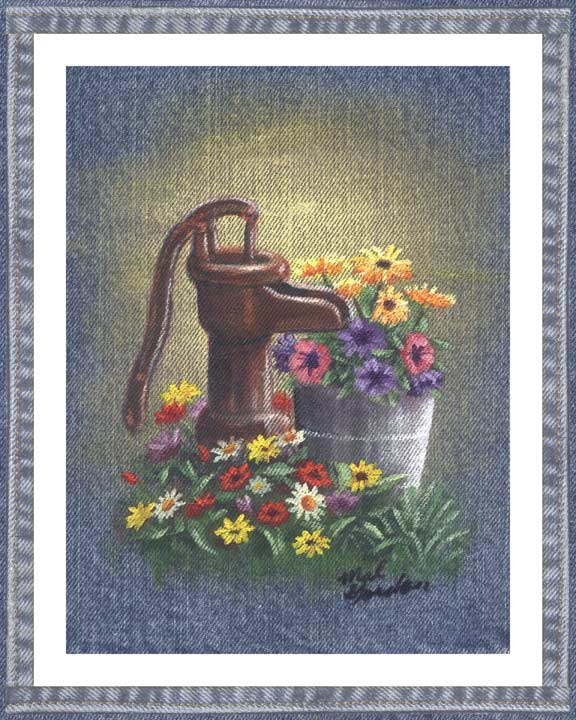 Pump On denim wall decor with flowers in a country motif. A beautiful printed denim wall art piece surrounded in a denim border.