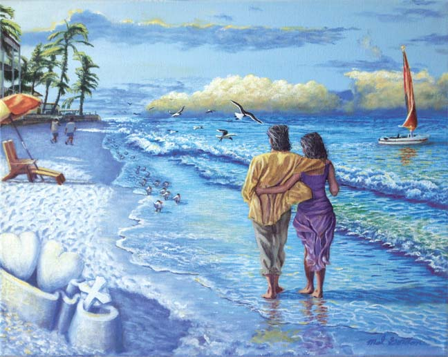 A painting depicting a couple walking on Siesta Keys Beach in Sarasota, Florida.