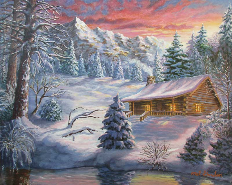 A painting depicting a snow covered cabin at sunset in a mountain setting.