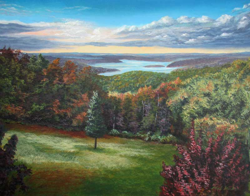 A painting depicting a tree in a clearing set in the Ozark Hills with Table Rock Lake in the background.
