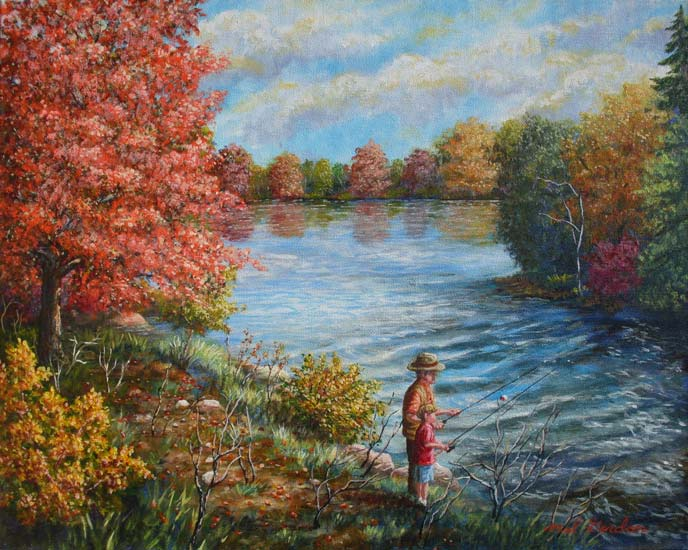 A painting depicting a Grandfather teaching his young grandson to fish from a lake in Missouri against a fall background of trees.