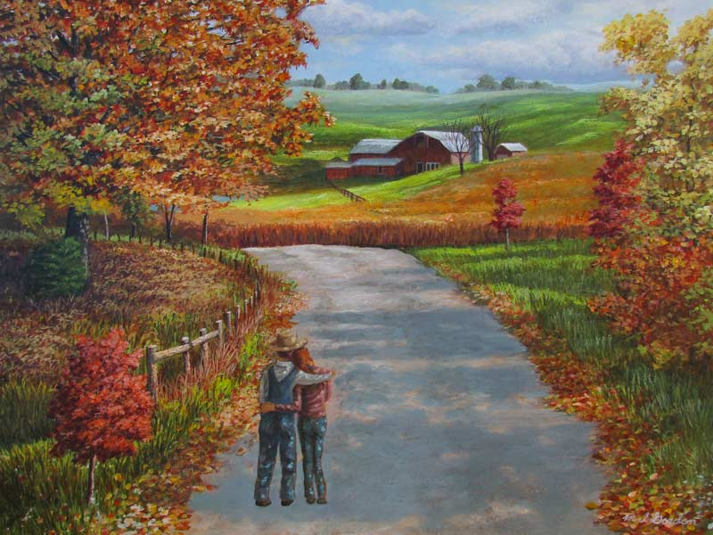 A painting depicting a young couple viewing a farm from a distance.