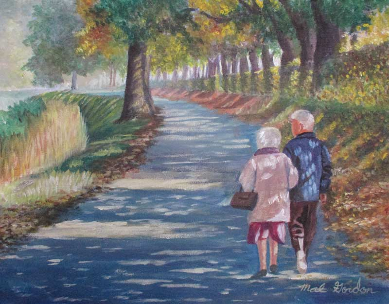 A painting depicting an elderly couple walking down a park path.