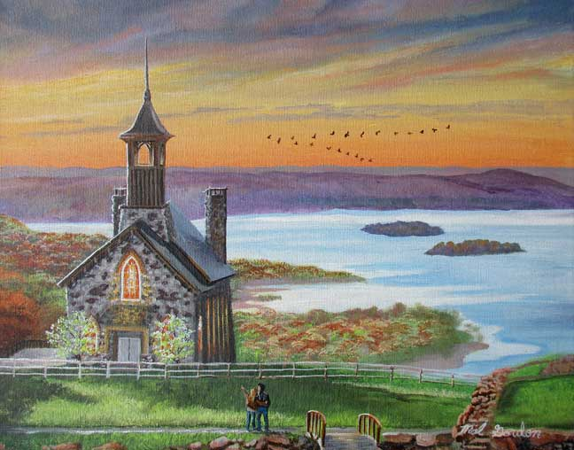 A painting depicting a scene of a couple looking at the Top Of The Rock Chapel in Branson, MO about future marriage.