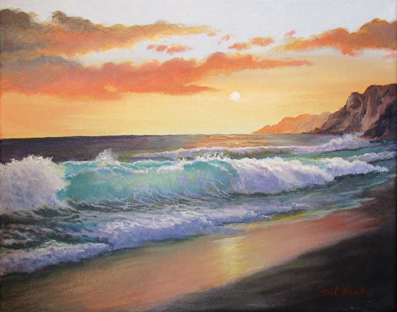 A painting depicting an ocean wave at sunset hitting the shore on a deserted beach.
