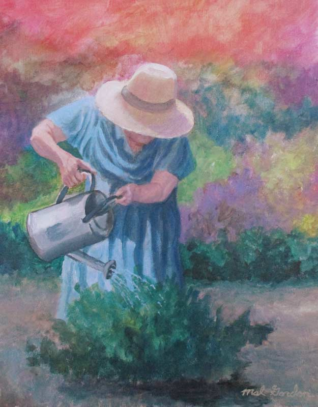 A painting depicting a woman farmer watering plants with a watering can.