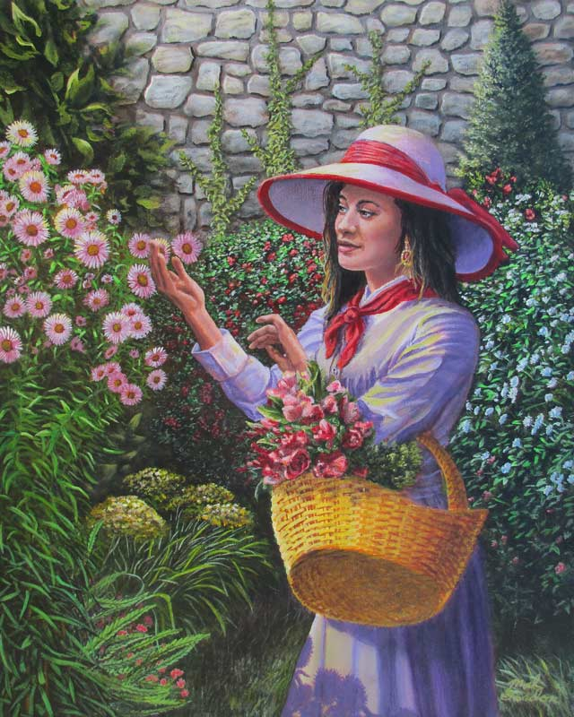 A painting depicting a  Latin woman in purple picking flowers in a garden behing a stone wall.