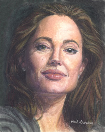Angelina Jolie art done in chalk pastel on paper.