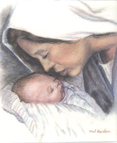 Mary and Jesus art done in colored pencils on paper.