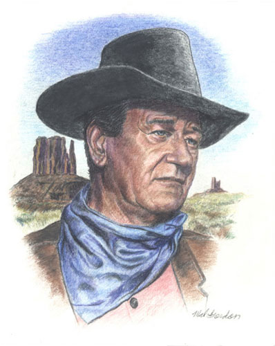 John Wayne art done in water color pencils on paper.
