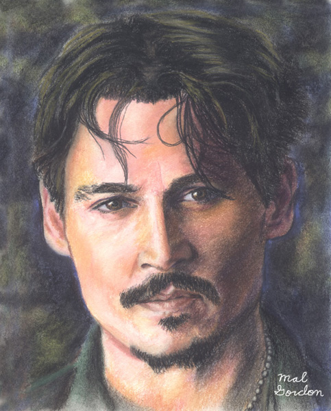 Johnny Depp art done in chalk pastel on paper.